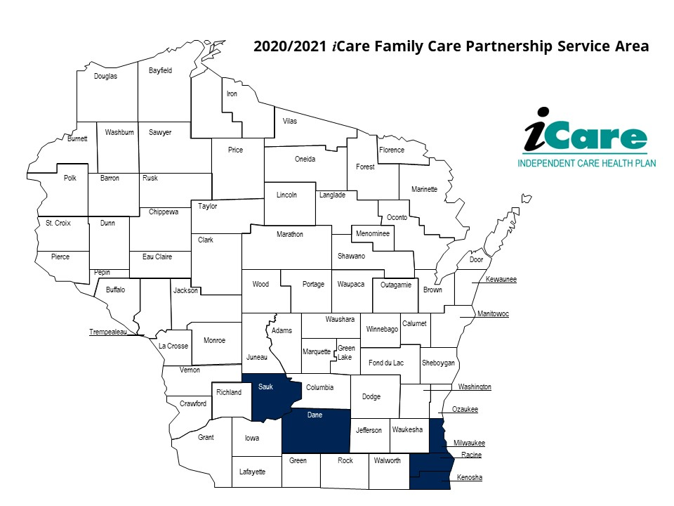 iCare Family Care Partnership Service Area Map